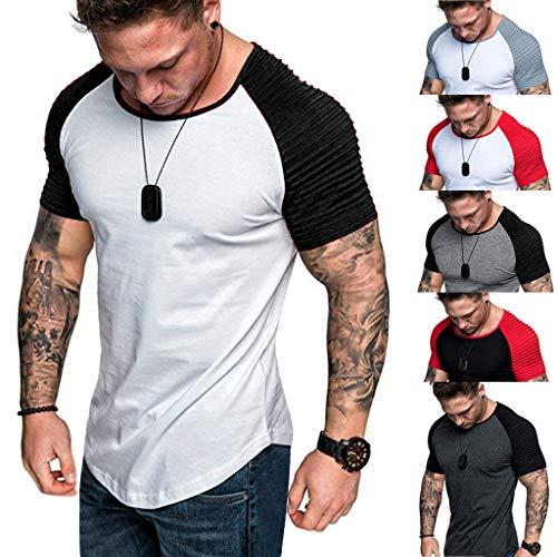 Hommes Eté Printemps Tops Tee Shirt, Plis Slim Fit Raglan Patchwork O-Cou À Manches Courtes No Pattern Top Blouse T-Shirt Pull Blanc Noir Rouge Gris M-XXXL