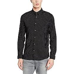 New Look Viscose Polka Dot, Camisa para Hombre, Black (Black Pattern), M