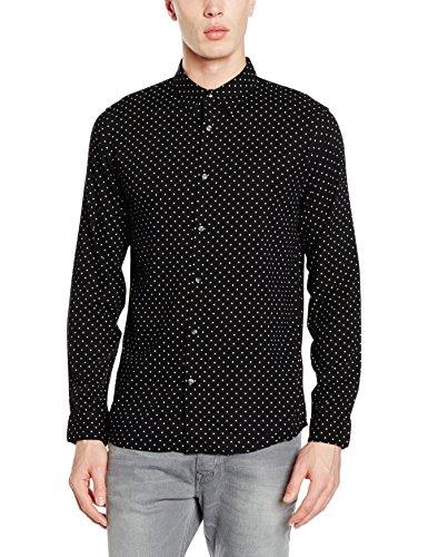 New Look Viscose Polka Dot, Camisa Para Hombre, Black (Black Pattern), Small