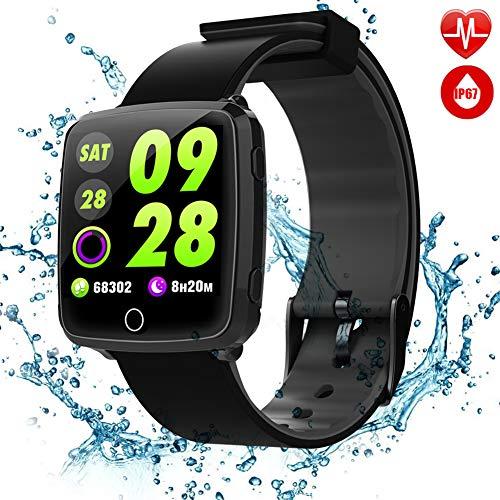 TagoBee TB09 IP67 Wasserdicht Fitness Armband 2018 Neu Released HD Bunte Bildschirm Fitness Tracker Smartwatch Unterstützung Blutdruck Überwachung Schrittzähler Schlafen Überwachung Benachrichtigungen Erinnern Aktivität Tracker Kompatibel mit iPhone und Andriod (schwarz)
