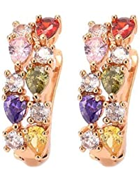 Yellow Chimes Sparkling Colors Flowerets Vine Swiss CZ 18K Gold Plated Clip On Earrings For Women