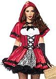 LEG AVENUE 85230 - 2Tl. Kostüm Set Gothic Riding Hood, Kostüm Damen Karneval rot/weiß, S (EUR 34-36)