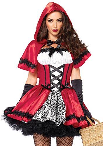 fasching kostueme damen maerchen LEG AVENUE 85230 - 2Tl. Kostüm Set Gothic Riding Hood, Kostüm Damen Karneval rot/weiß, M (EUR 38-40)