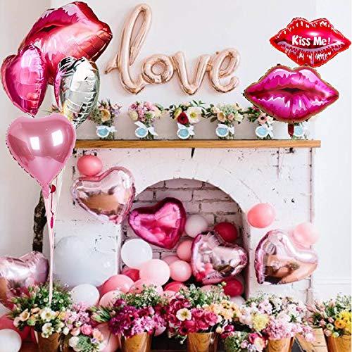 iebe Ballon Set - Liebe Folien, Lippen, Herz Folien, Latex-Luftballons, Geschenkidee und Zubehör für Mimosa Bar Bachelorette Hochzeit Sprudel Bar Dekor ()