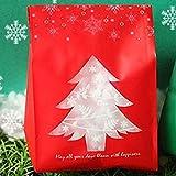 Quanshuai Fashion Christmas Geschenke Taschen Süßigkeiten Keks Verpackung Box mit Schneeflocken Weihnachten Dessert Kekse Taschen Weihnachtsdekorationen für Zuhause(None red)