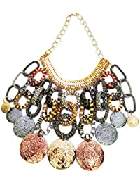 Mehrunnisa Chunky Silver Gold Oxidised Toned Coin And Ring Necklace For Girls (JWL625)