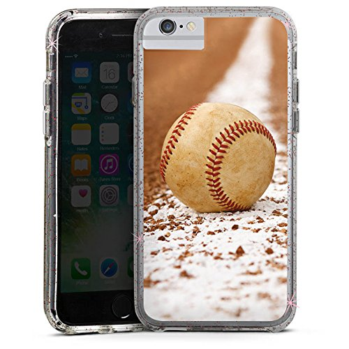 Apple iPhone 6s Bumper Hülle Bumper Case Glitzer Hülle Baseball Sportplatz Ball Bumper Case Glitzer rose gold