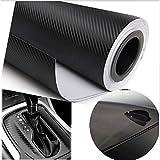 3d negro de fibra de carbono estilo coche impermeable adhesivo de coche 3d de fibra de carbono película del vinilo con aire libre BUBBLE Car Wrap DIY coche Tuning parte adhesivo 200cm * 50cm