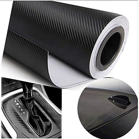 Rouleau de film autocollant 3D en fibre de carbone en vinyle noir 127cm x 50cm pour décorer votre voiture. Résiste à l'eau. Film autocollant 3D de décoration de voiture imperméable en fibre de carbone, autocollant de tuning de voiture.