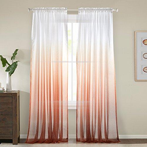 Gwell, tende di gradazione di colore, trasparenti, in voile, con occhielli, tenda decorativa, per soggiorno, camera da letto, confezione singola, 1 pezzo
