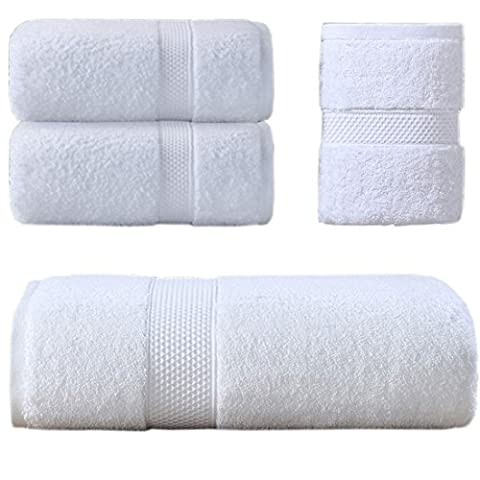 Sumc 6 Piece Cotton Towel Set with 2 Bath Towel 2 Hand Towel and 2 Washcloths Soft and Absorbent