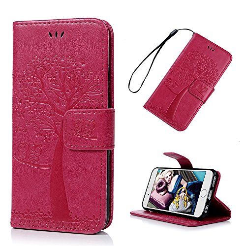 Lanveni Iphone 6S Iphone 6G 3 en 1 Coque de Protection - Housse Étui en [PU Cuir][Portefeuille Support Flip][Fermeture Aimantée] Phone Case pour Iphone 6S Iphone 6G +[Stylo Capacitif]+[Film de Protect Rose Foncé