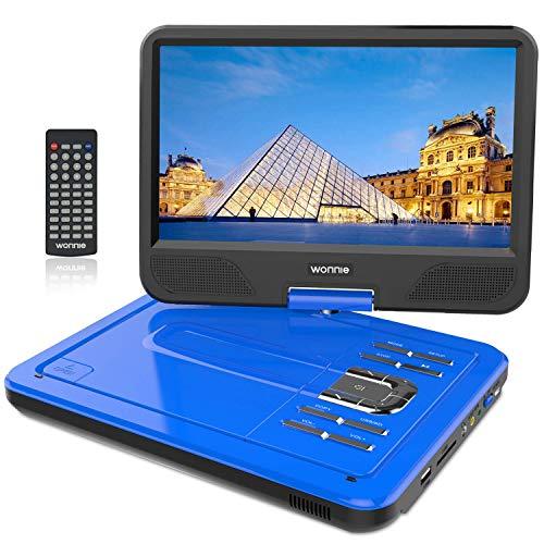 WONNIE 12.5' Lecteur DVD Portable avec écran Rotatif de à 270°, Carte SD et Prise USB avec Charge directe Formats/RMVB / AVI / MP3 / JPEG, Parfait pour Enfants (Bleu)