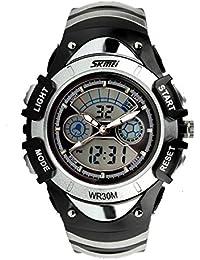 ufengke® exquisite kreative Band multifunktionale wasserdichte Armbanduhren für Kinder Mädchen, trendige elektronische QuarzArmbanduhren, Silber