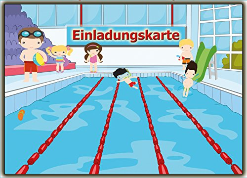 Kartenversand24 Einladungskarten Schwimmen Set Schwimmbad Kinder-Geburtsatag Einladung für Jungen Mädchen Set zur Poolparty Planschbecken Pool 11 Stück