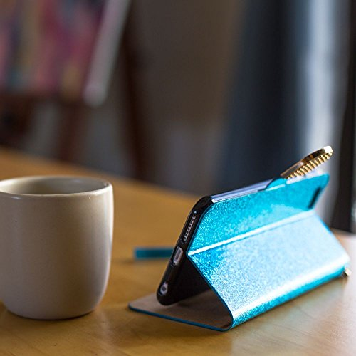 CellularOutfitter Apple iPhone 6/6s Plus Folding Phone Wallet Case - Shimmering Butterfly Design w/ Wristlet - Purple Aquamarine Glitter