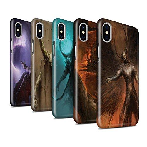 Offiziell Chris Cold Hülle / Glanz Snap-On Case für Apple iPhone X/10 / Pack 10pcs Muster / Dunkle Kunst Dämon Kollektion Pack 10pcs