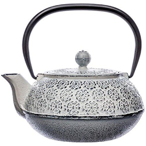 Gusseisen-Teekanne mit abnehmbarem Filter – Fassungsvermögen 1 Liter – Farbe: antikes WEIß