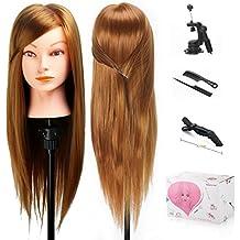 "Beautystar Maniqui de Cabeza para practicas de peluqueria con 70% de la fibra qu¨ªmica a alta temperatura + 30% de crin 20""(con soporte)"