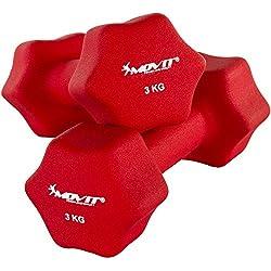 Movit Par de Mancuernas Recubiertos de Neopreno mancuerna de una Mano Pesas de 2 x 3,0 kg Rojo