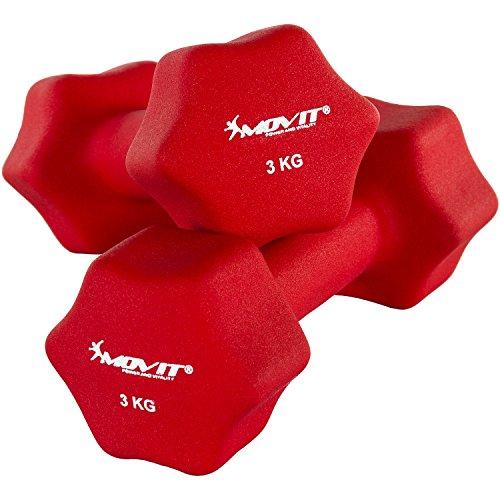 MOVIT 2er Set Neoprenhanteln, Kurzhanteln mit Oberfläche aus Neopren, 2x 3,0kg in Rot