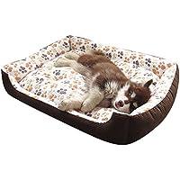 Cama Para Perro Lavable con Almohadas de Felpa Reversibles Cesta Rectangular Para Mascotas Colchoneta para Medianos Y Pequeños Cachorros o Gatos Beige