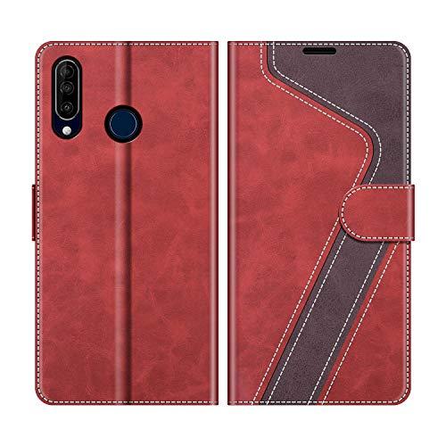 MOBESV Handyhülle für Wiko View 3 Hülle Leder, Wiko View 3 Klapphülle Handytasche Case für Wiko View 3 Handy Hüllen, Modisch Rot