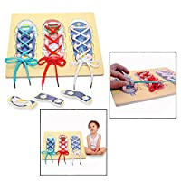 OFKPO Learn to Tie Shoe Educational Board Toys for Kids Practice Shoe Lace Tying Board Education Learning Toy