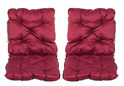 Meerweh Stuhlkissen mit Rückenteil Sitz und Rückenkissen mit Bänder 50x98 cm Polsterauflage...