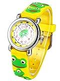 Happy Cherry Unisex Kinderuhr 3D Student Uhr mit Uhrenbox Größes Zifferblatt Armbanduhr Gummi Band Armbanduhr für Jungen Mädchen Kinder-Frosch
