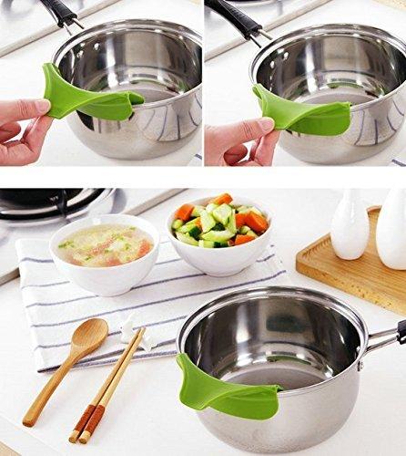 HENGSONG Küchenhelfer Silikon Ausgusstülle Mess freies Ausgießen Flüssigkeit Suppe Öl aus Schüsseln Pfannen Töpfe - 4