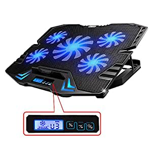 "TopMate Basi Di Raffreddamento Per pc Portatili, Raffreddamento Notebook | 10""-15,6"" Pollici | 5 x Ventilatore | 2 x USB | LED Blu | Nero"