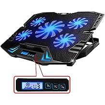 Topmate K5 - Base de refrigeración para ordenador portatil de 12 a 15,6 pulgadas con puerto usb, 5 venditadores controlable a 2500 RPM, Leds y pantalla LCD
