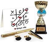 TiedRibbons Valentines Day Gift for Boyfriend Golden Cufflinks, Tiepin and Pen Set with Best Boyfriend Engraved Golden Trophy
