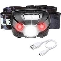 LE Lampe Frontale LED Rechargeable 5 Modes 1200mAh, Lumière Blanche et Rouge, Distance à 150 Mètres, Léger pour Enfants Adultes Running Vélo Footing Randonnée Camping Bricolage Lecture Pêche