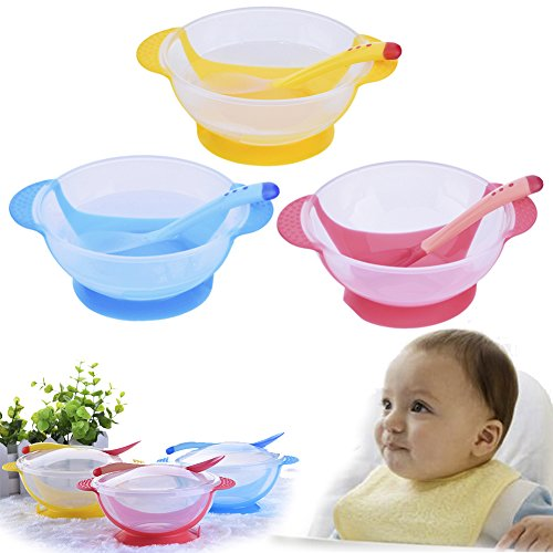 Lid & Temperature-Sensitive Spoons Baby Bowl Set with Spill Proof and Stay Put Suction 51sP0RGiXFL