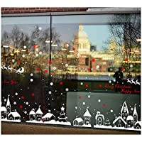 Tuopuda Christmas Wall Stickers Deer Snowflakes Town Christmas Window Stickers for Home Shop Decor (red)
