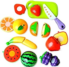 Amitasha Realistic Sliceable Fruits Cutting Play Toy Set | Kitchen Playset for Kids