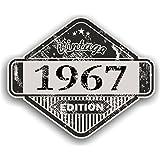 Distressed envejecido Vintage 1967Edition Classic Retro vinilo coche moto Cafe Racer Casco Adhesivo Insignia 85x 70mm