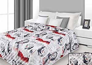 170x210 stahl weiß rot gedruckte Tagesdecke Steppbettüberwurf Marilyn Monroe Pop Art Marilyn1
