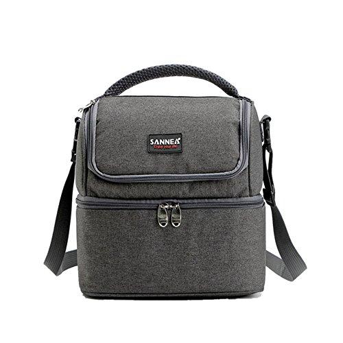 cieovo Isolierte Lunch Box Großer Isolierte Cool Tasche Lunch Kit für Männer, Frauen, Double Deck Kühler grau