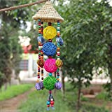 Generic Hot Wind Chimes Feature Hand Weave Straw Hat Sepak Takraw Four Series Pendants