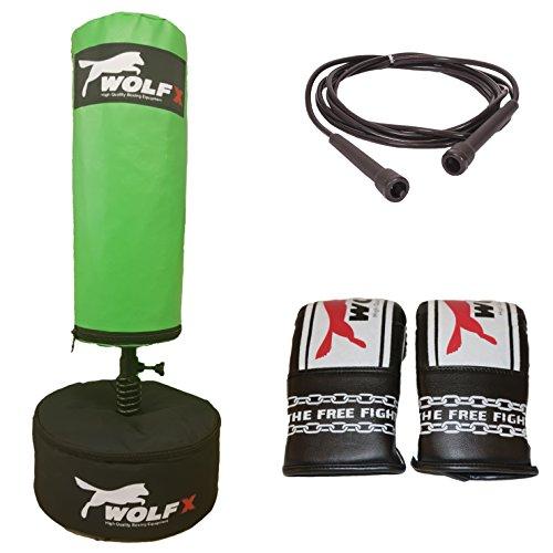 Wolf New Kids Freien Stand Bag Boxing Kick Boxing Boxsack-Ständer schwere Martial Arts Handschuhe Springseil Geschenk Set UK Hergestellt von wolfx (grün) (Karate Tasche Schwere)