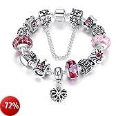 """A TE® Bracciale Charms """"Fiore"""" Vetro beads queen Catena Sicurezza Regalo Donna #JW-B110 (Rosa)"""