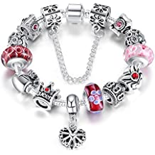 e4afbb201e09 A TE® Charm Pulsera Abalorio Murano Cristal Vidrio Perlas con Cadena de  Seguridad Chapado Blanco