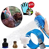 OWUDE Pet Shower Sprayer 2 in 1 Pet Bathing Tool with ON/OFF Switch for Dog and Cat Grooming with Massage Brush 3 Hose Adapters for Bath Tub and Outdoor Garden Use (8.2ft Blue Hose)