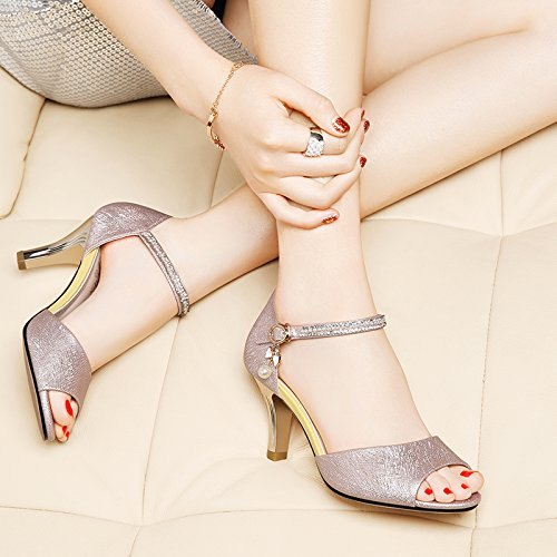 Sommer Damen Mode Sandalen komfortable High Heels, 38 schwarz Pink