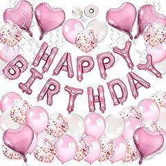 Idea Regalo - MMTX Decorazioni Feste di Compleanno, 51 Confezioni Per Con Striscioni di buon Compleanno, Palloncino Cuore Di Elio, 30pcs Palloncini in Lattice Per Compleanno, Matrimonio, Baby Shower, Decorazioni
