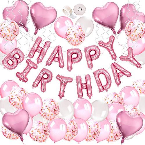 MMTX Decorazioni Feste di Compleanno, 51 Confezioni Per Con Striscioni di buon Compleanno, Palloncino Cuore Di Elio, 30pcs Palloncini in Lattice Per Compleanno, Matrimonio, Baby Shower, Decorazioni