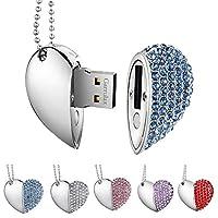 Garrulax USB Flash Drives, Premium Heart Diamond High Speed USB 2.0 Flash Data Storage Drive Memory Pen Stick Flash Disk Pendrive